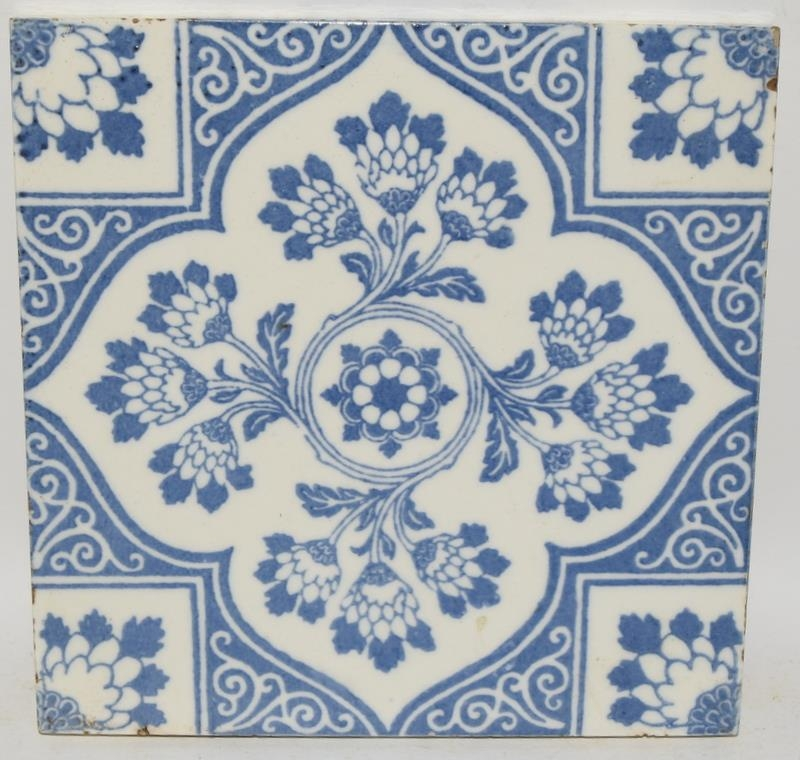 """Transfer printed tiles to include examples by Wedgwood, Sherwin & Cotton, each tile 6"""" x 6"""" (4) - Image 9 of 12"""