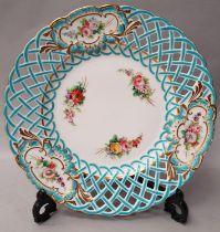An antique Minton pierced lattice work plate no 8800 c.1880 24cm diameter