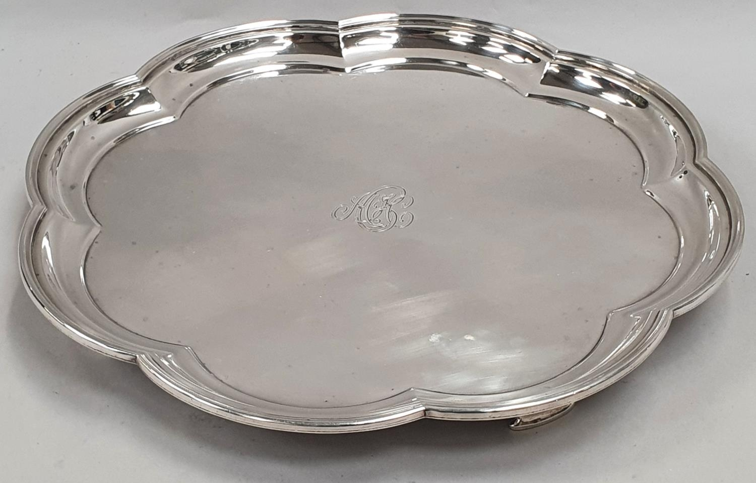 Sterling silver salver with scalloped rim - Sheffield 1929 by Mappin & Webb - approx 1181 grams.