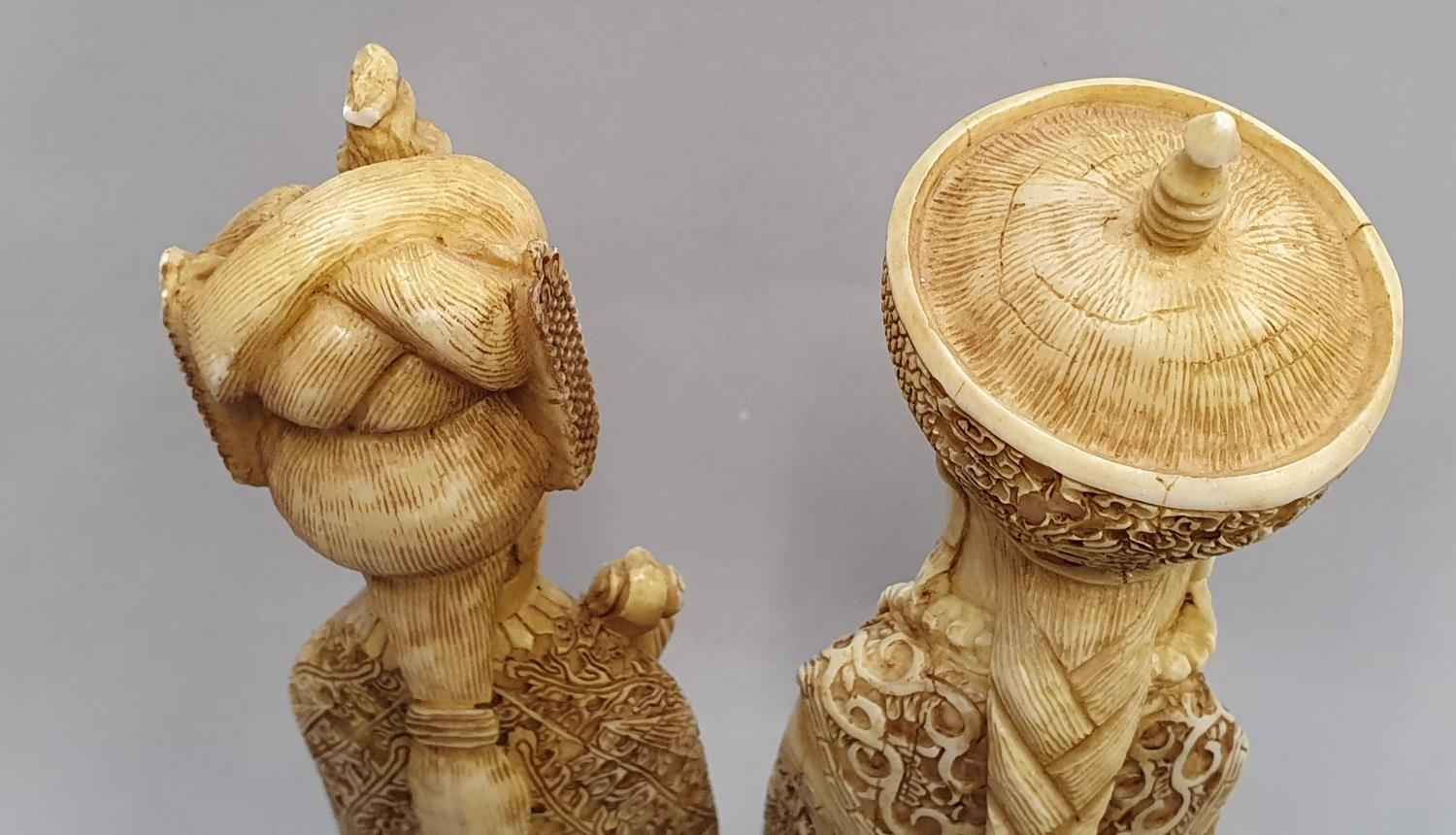 A pair of ivory coloured oriental figures 32 and 29cm high. - Image 4 of 8