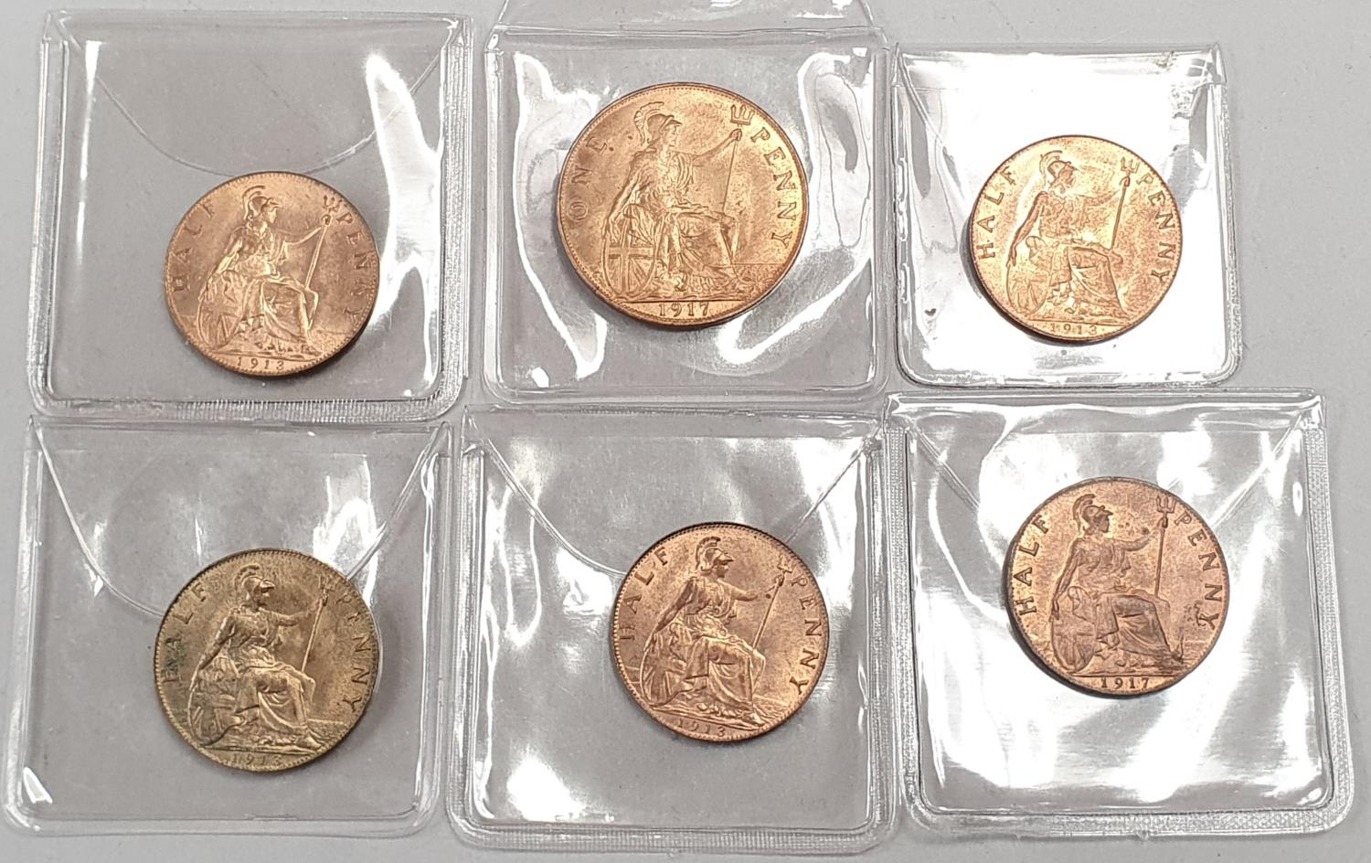 George V 1917 penny, 4 x 1913 half pennies and a 1917 half penny.