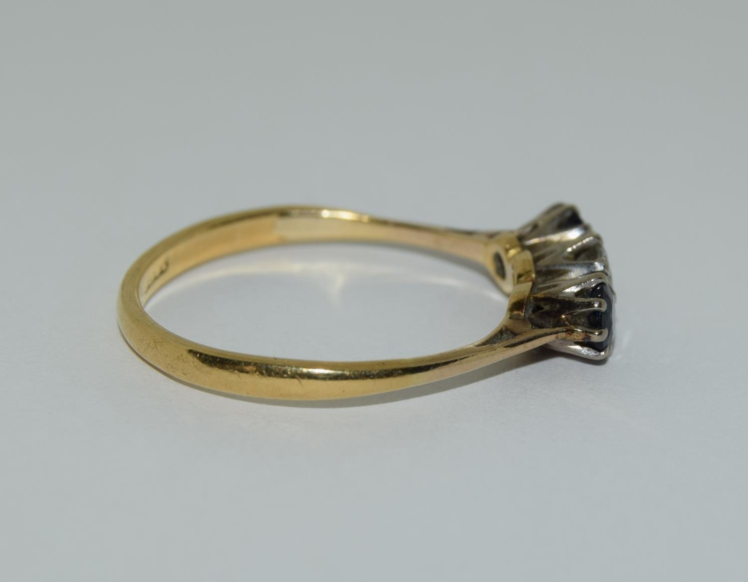 Art Deco Sapphire and Diamond 0.65ct approx, three stone trilogy ring, 2.5grams Size Q. - Image 2 of 6