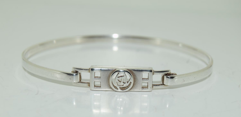 Mackintosh Scottish Rose 925 silver bangle.