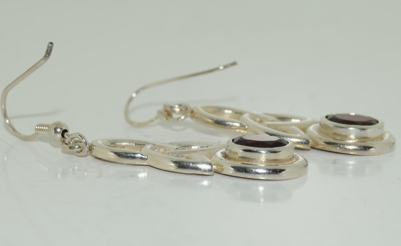 Large Celtic designed Garnet drop 925 silver earrings. - Image 2 of 3