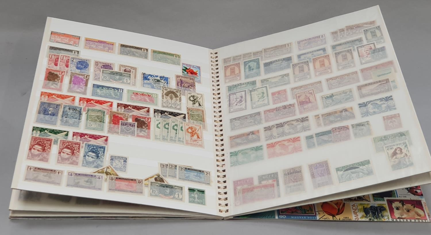 """Multi coloured album of French Colonies stamps """"260""""."""