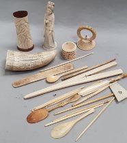Miscellaneous ivory figures etc.