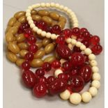 Collection of various beads to include ivory and cherry amber.