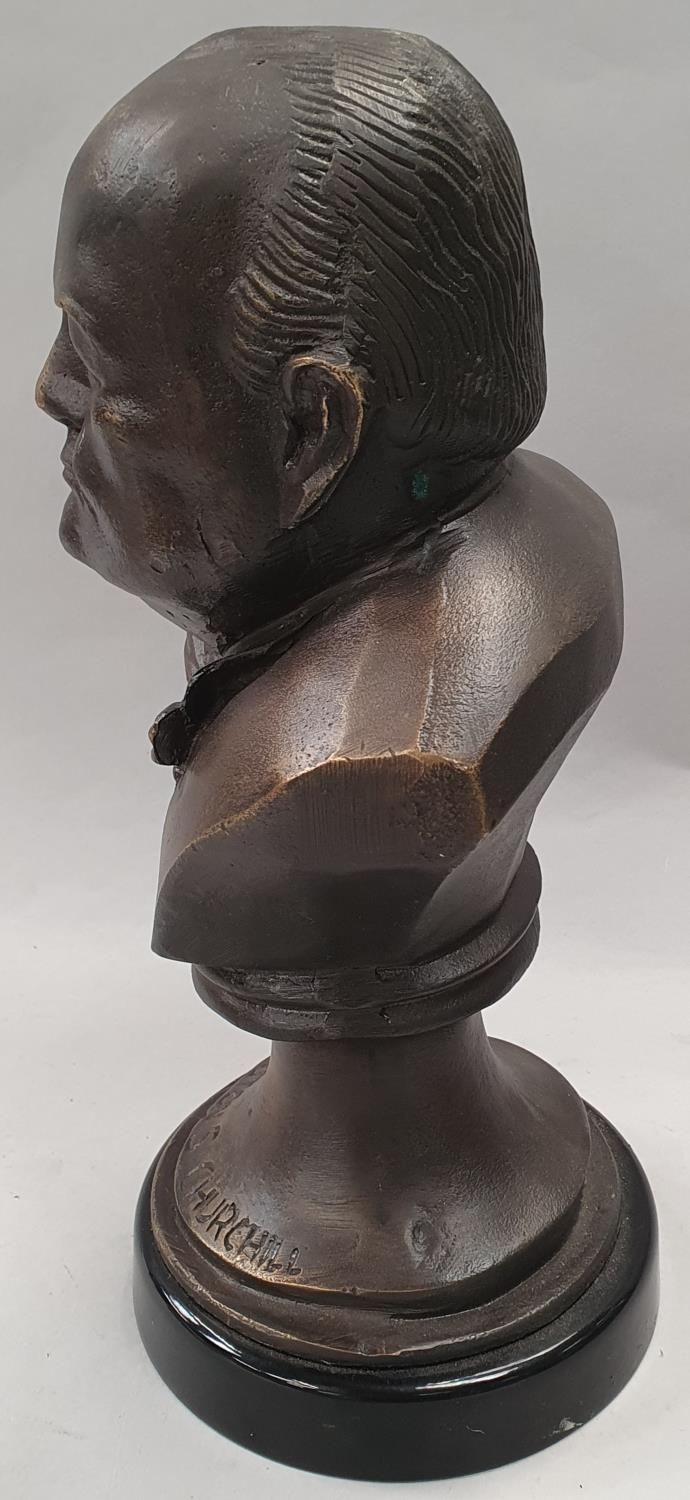A cast metal bust of Winston Churchill on metal base 33cm tall. - Image 2 of 6