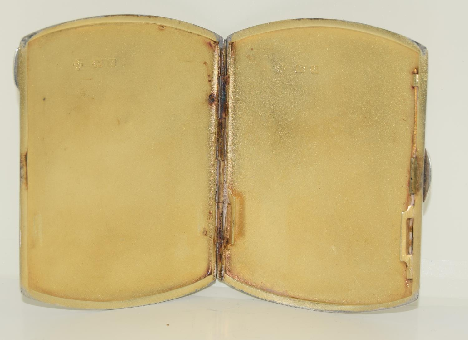 A silver case 1923 with semi nude enamel plaque. - Image 3 of 4