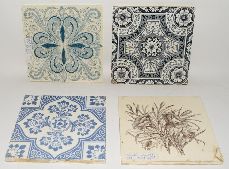 """Transfer printed tiles to include examples by Wedgwood, Sherwin & Cotton, each tile 6"""" x 6"""" (4)"""