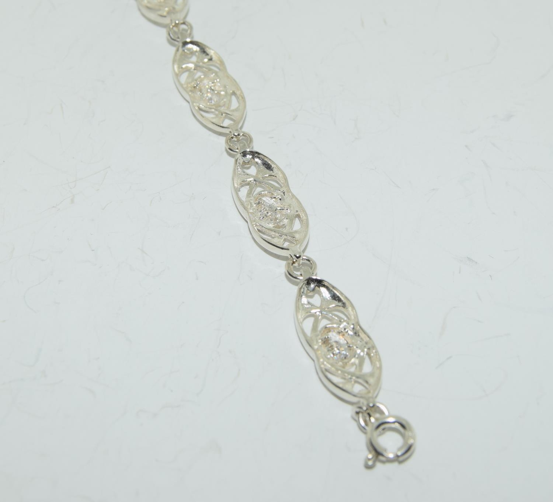 Mackintosh Scottish Arts and Crafts white topaz silver bracelet. - Image 4 of 4