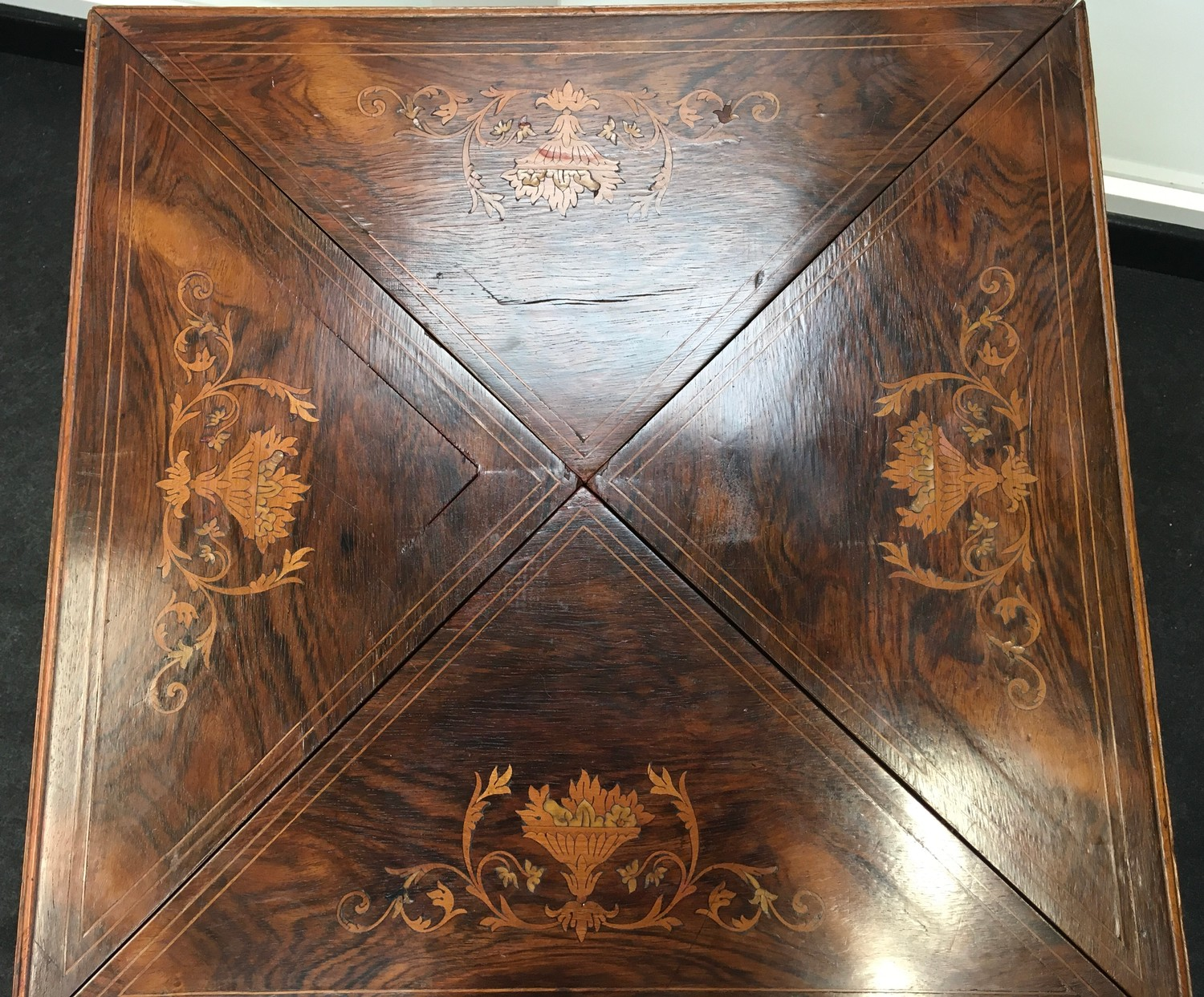 Edwardian inlaid rosewood envelope card table. The top decorated with urns and scrolled flowers, - Image 5 of 7