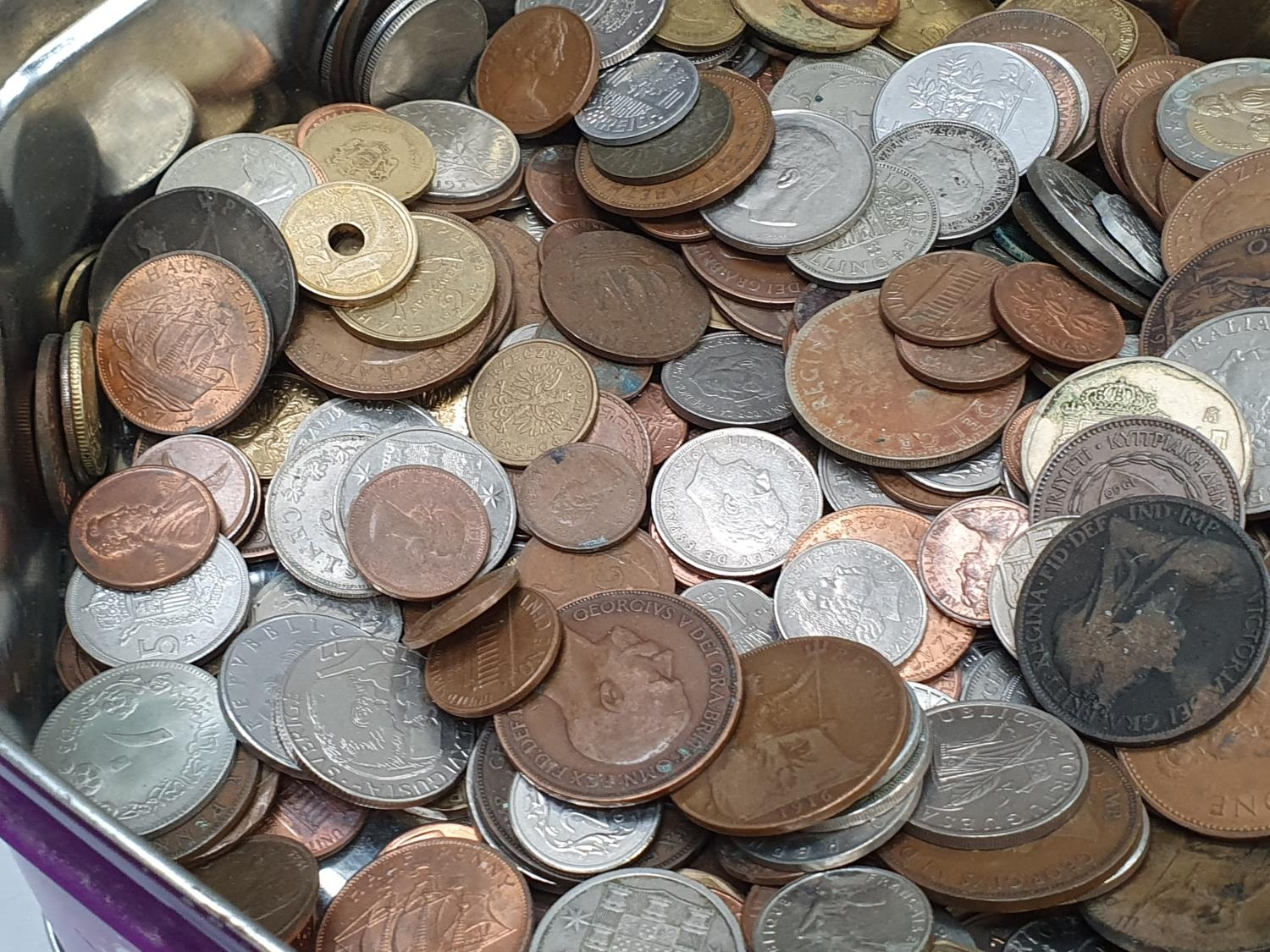 Purple tin of mixed coinage. - Image 4 of 4