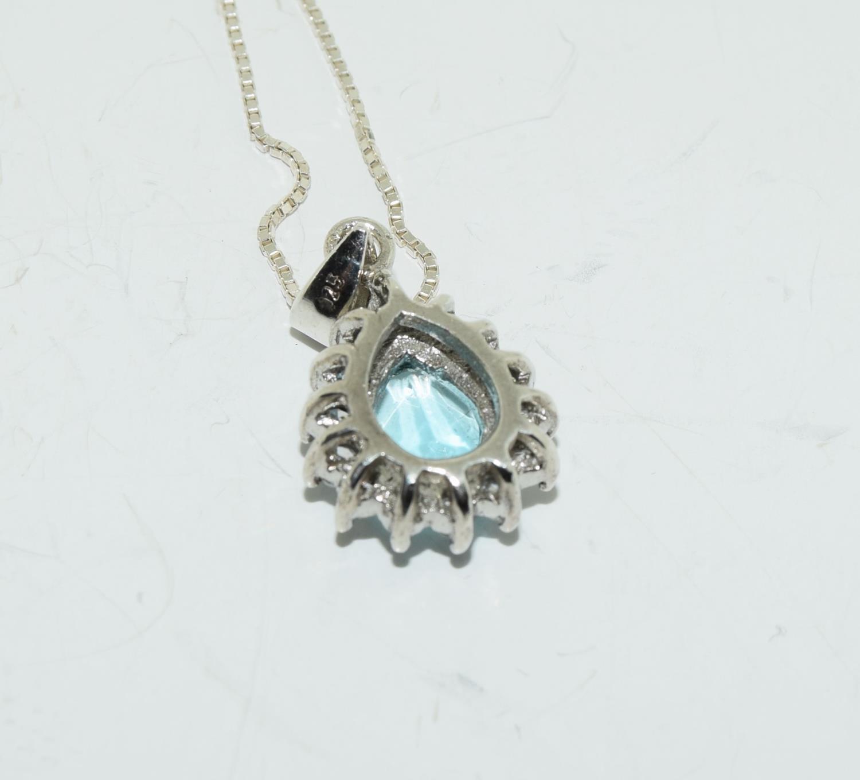 Blue Topaz teardrop 925 silver pendant. - Image 3 of 3