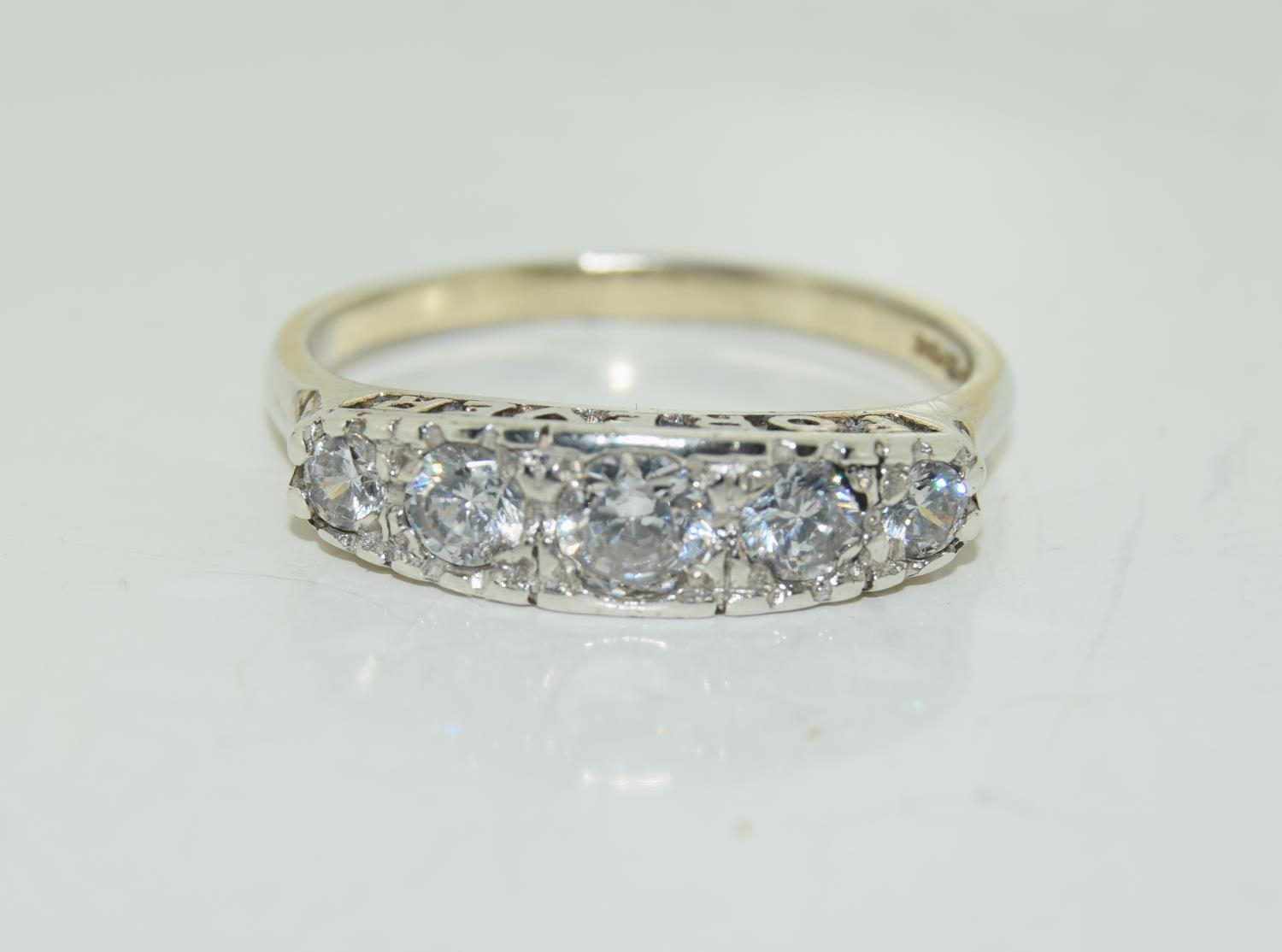 Large 'Always Forever' CZ 925 silver ring, Size W.