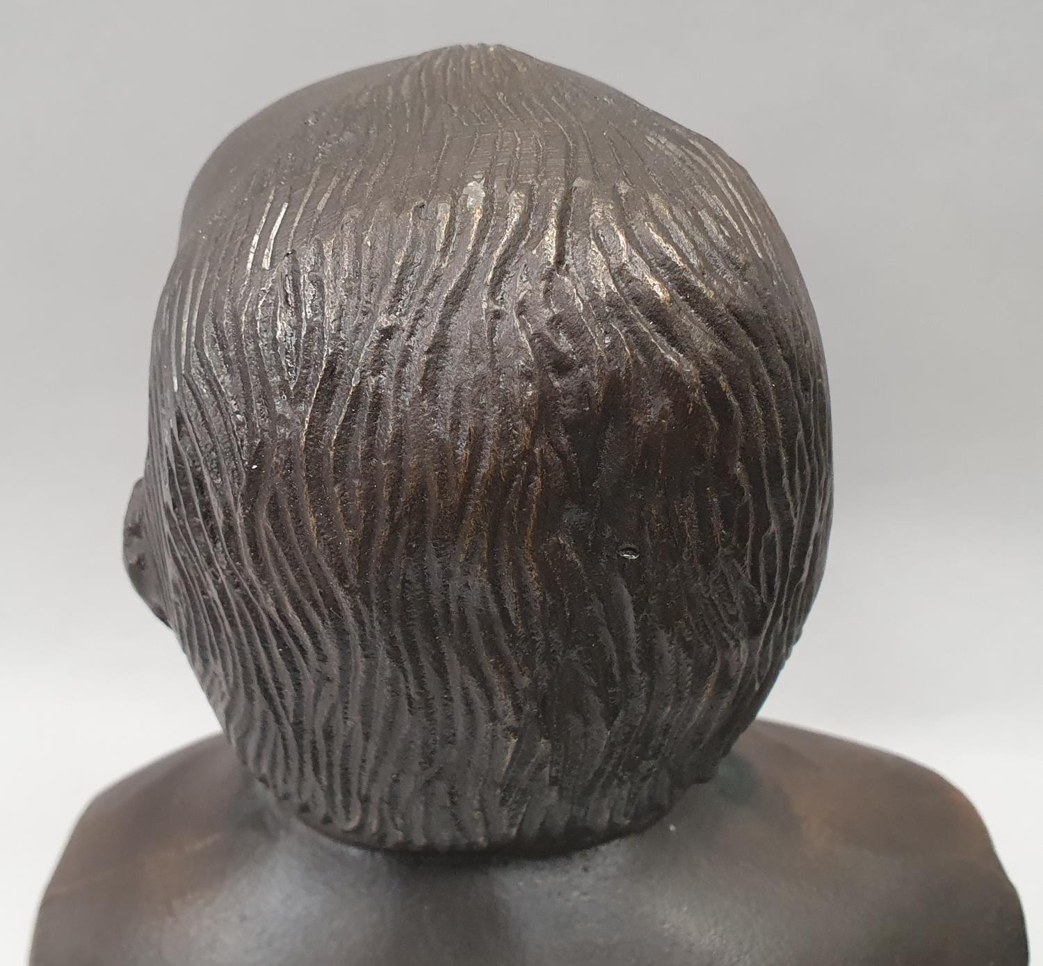 A cast metal bust of Winston Churchill on metal base 33cm tall. - Image 4 of 6