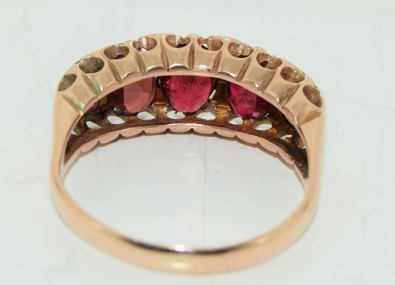 Antique garnet 9ct rose gold ring circa 1902, Size Q - Image 3 of 6