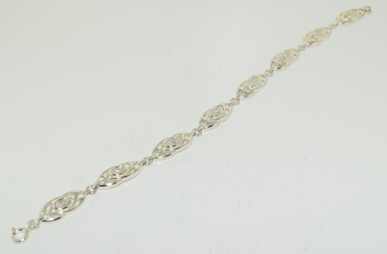Mackintosh Scottish Arts and Crafts white topaz silver bracelet.