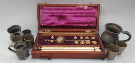 Sikes engineering barometer boxed with collection of Pewter measures