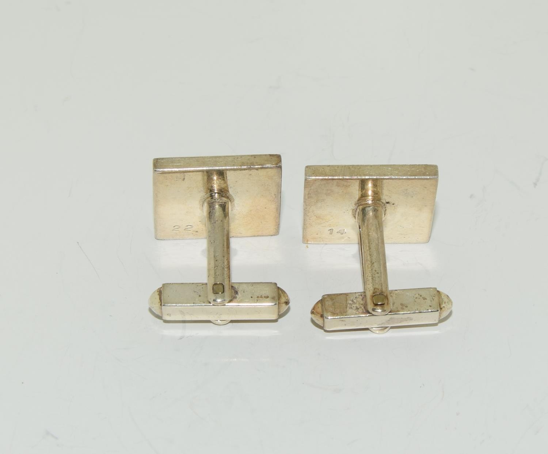 Pair gents silver ingot cufflinks - Image 5 of 5