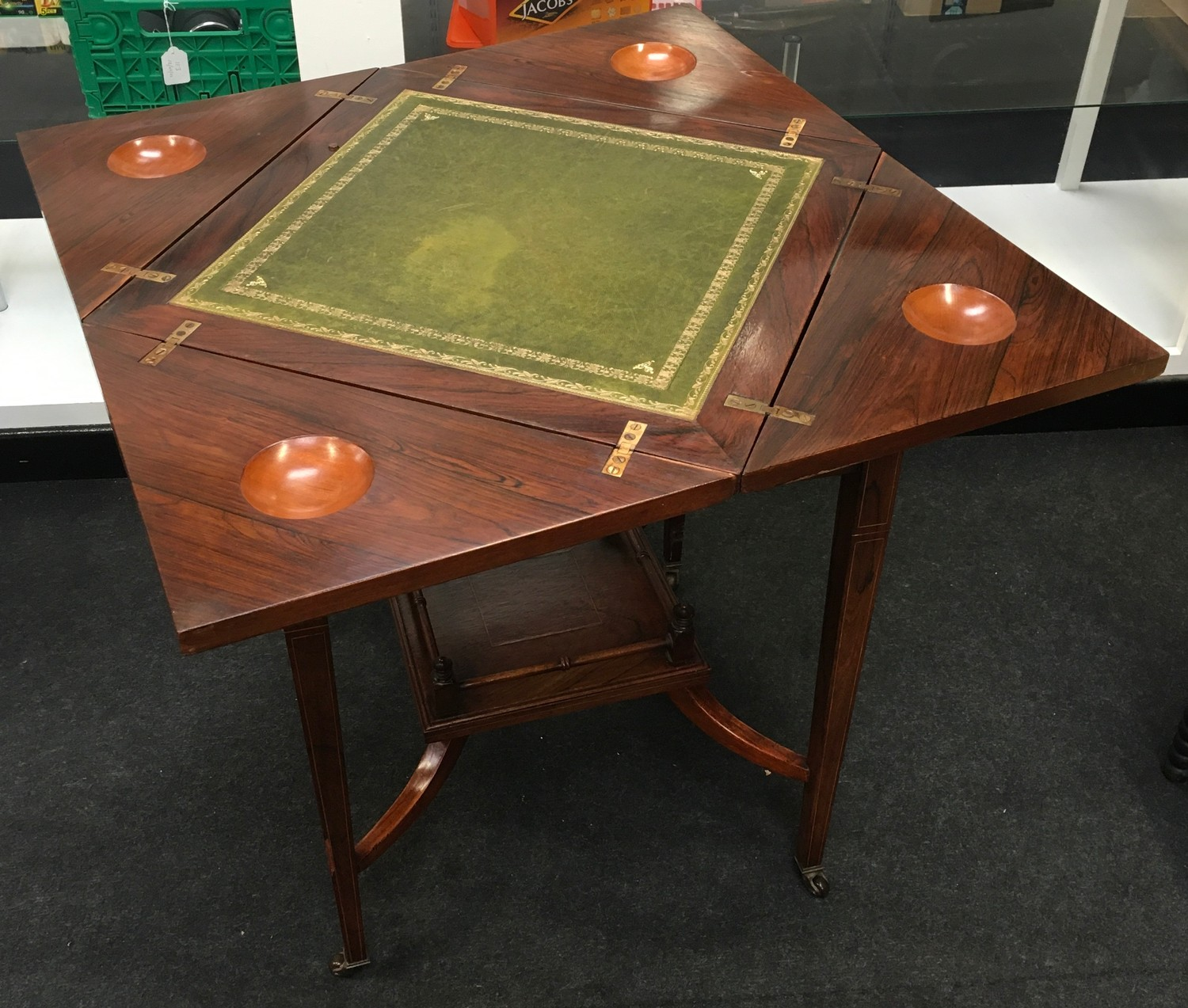 Edwardian inlaid rosewood envelope card table. The top decorated with urns and scrolled flowers, - Image 3 of 7