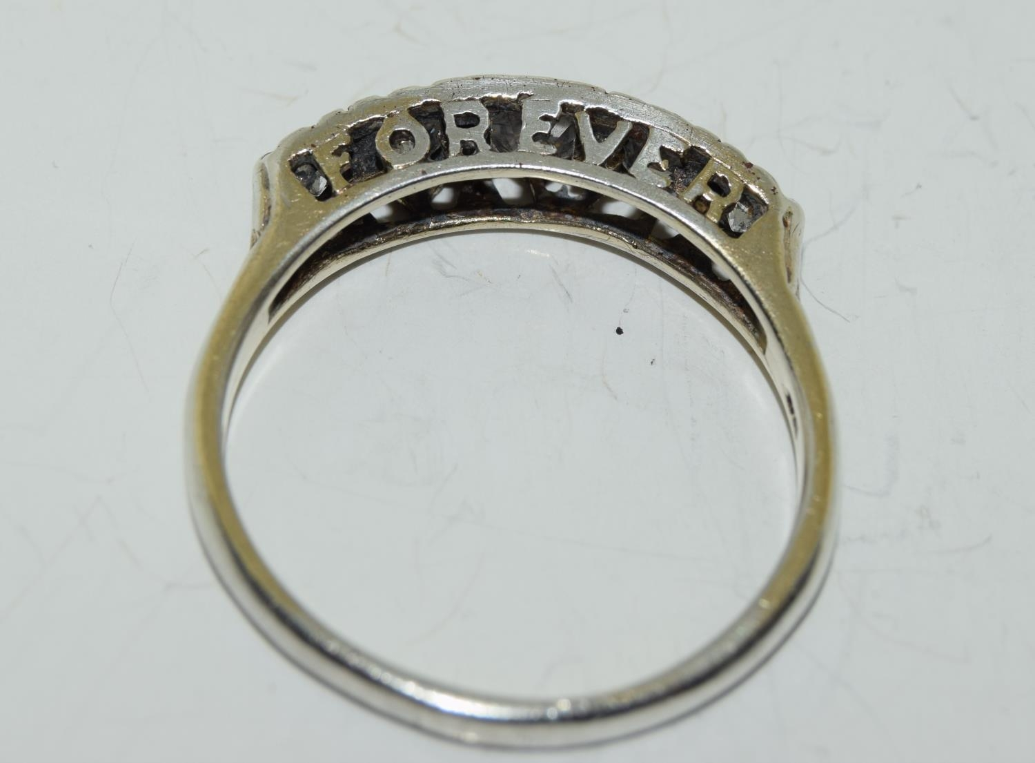 Large 'Always Forever' CZ 925 silver ring, Size W. - Image 4 of 4