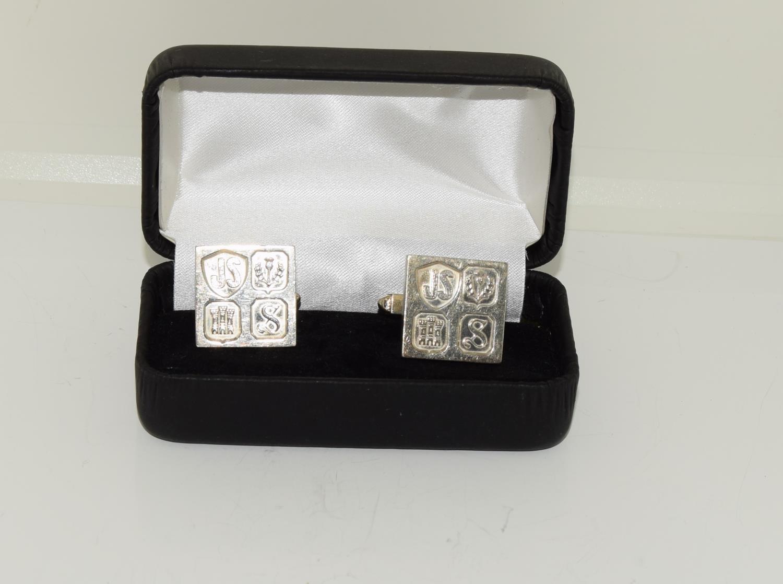 Pair gents silver ingot cufflinks - Image 2 of 5
