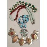 Collection of semi precious stone jewellery.