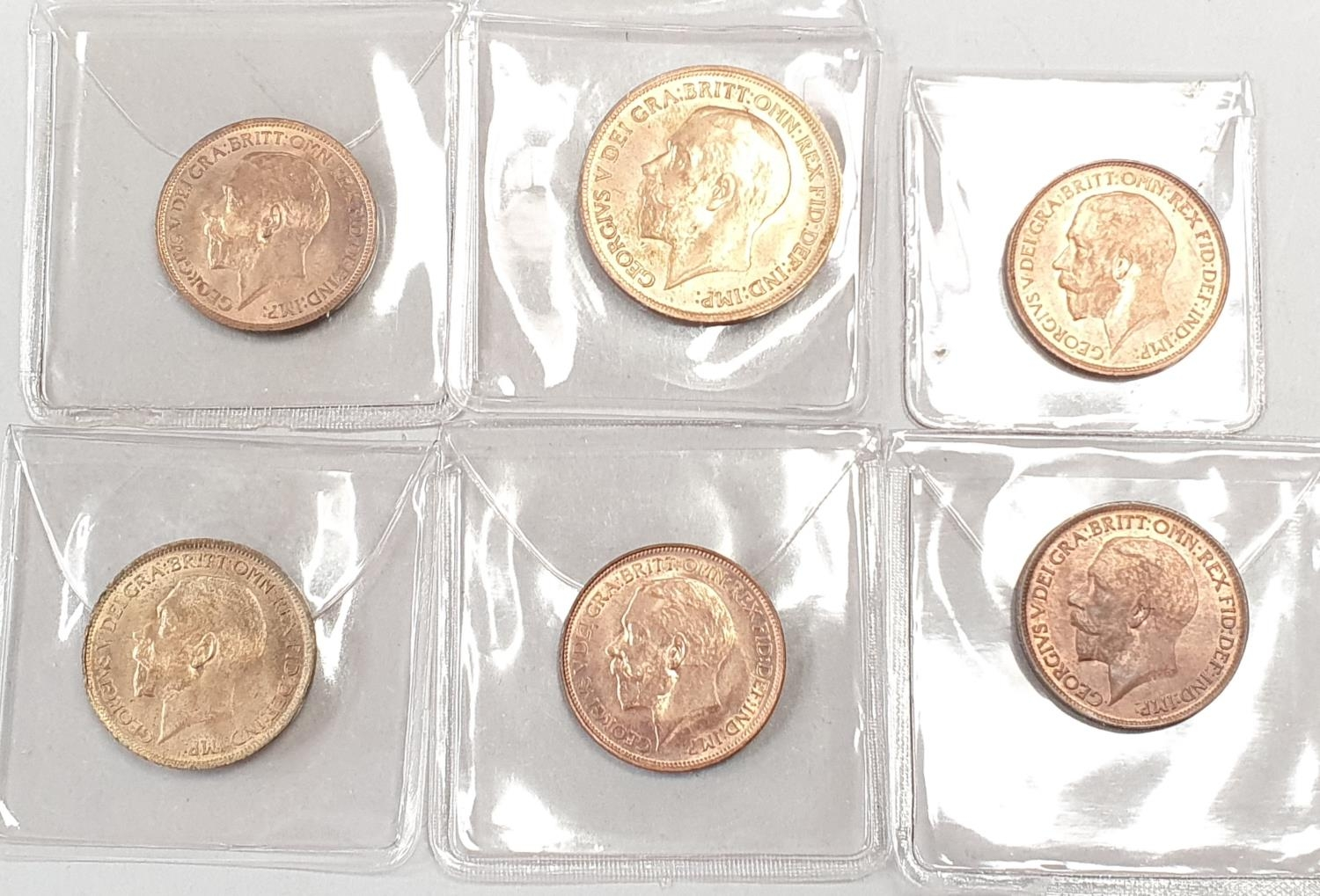 George V 1917 penny, 4 x 1913 half pennies and a 1917 half penny. - Image 2 of 2