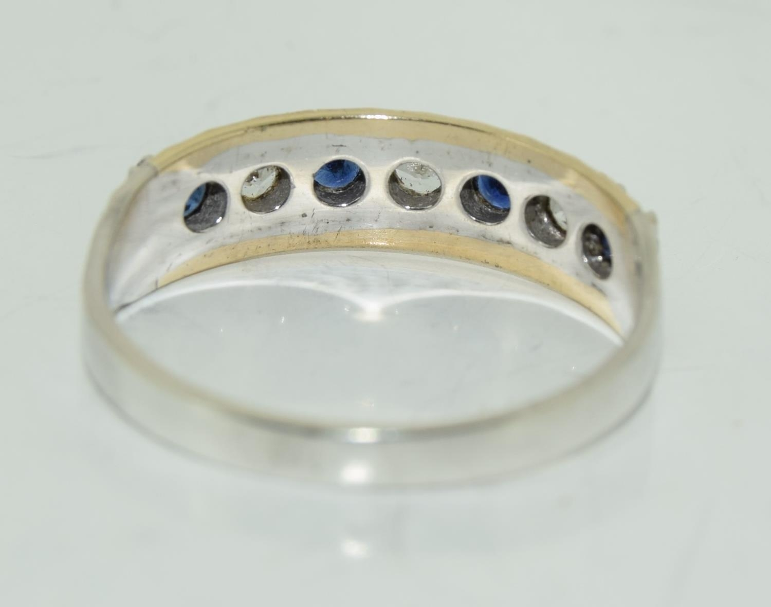Antique Sapphire 9ct and silver eternity ring, Size M. - Image 3 of 3
