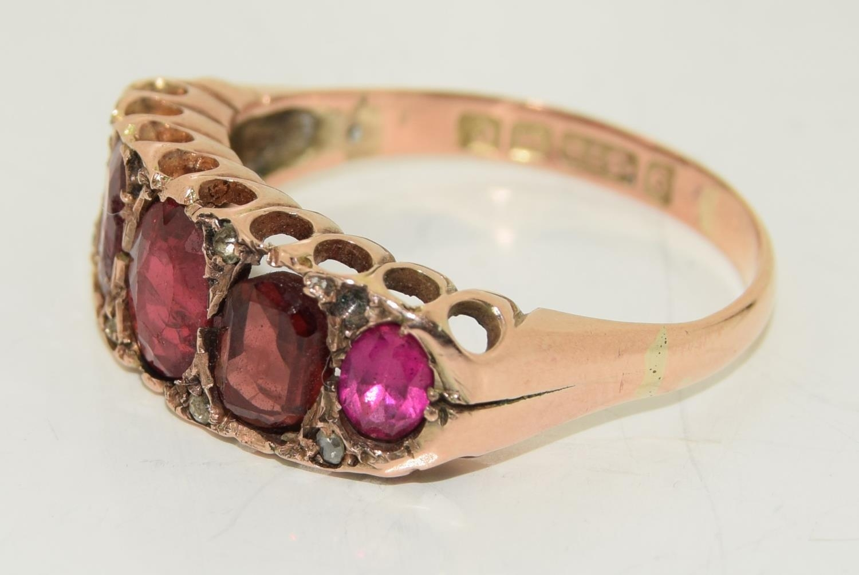 Antique garnet 9ct rose gold ring circa 1902, Size Q - Image 4 of 6