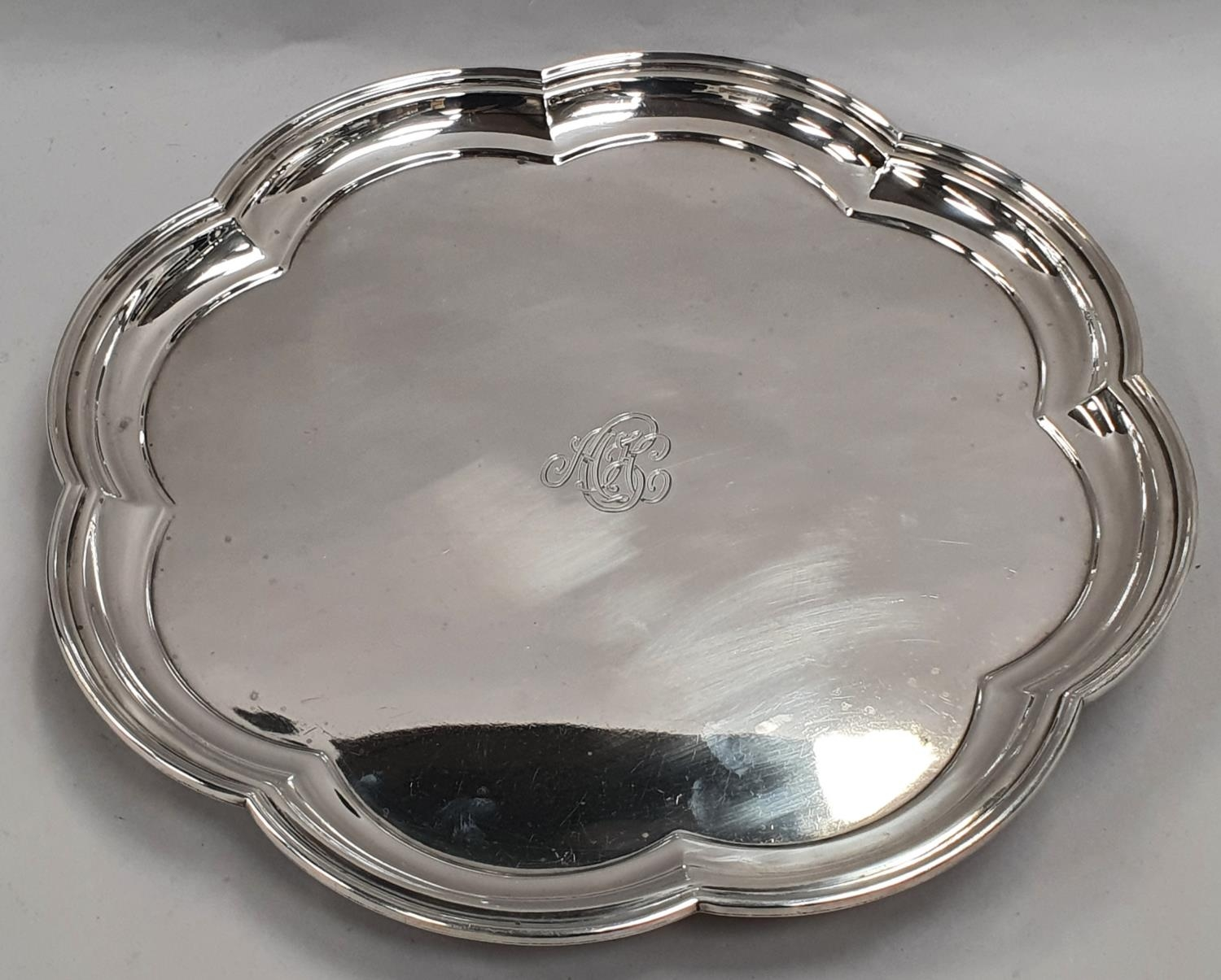 Sterling silver salver with scalloped rim - Sheffield 1929 by Mappin & Webb - approx 1181 grams. - Image 2 of 5