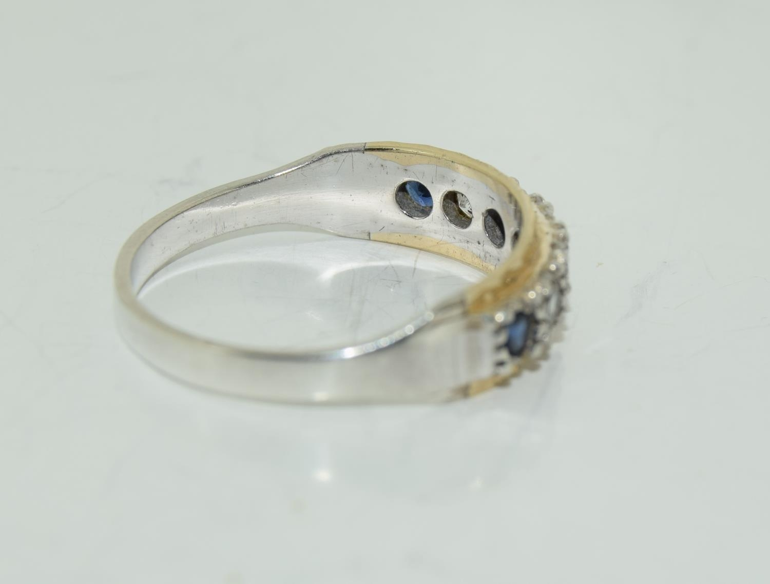 Antique Sapphire 9ct and silver eternity ring, Size M. - Image 2 of 3