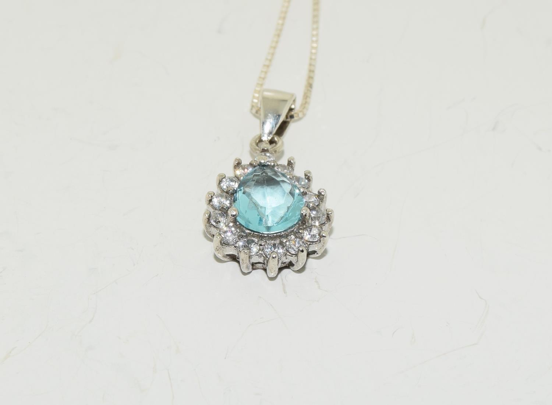 Blue Topaz teardrop 925 silver pendant.