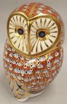 Royal Crown Derby Owl with gold stopper.