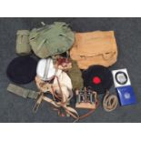 Collection of military surplus and clothing.
