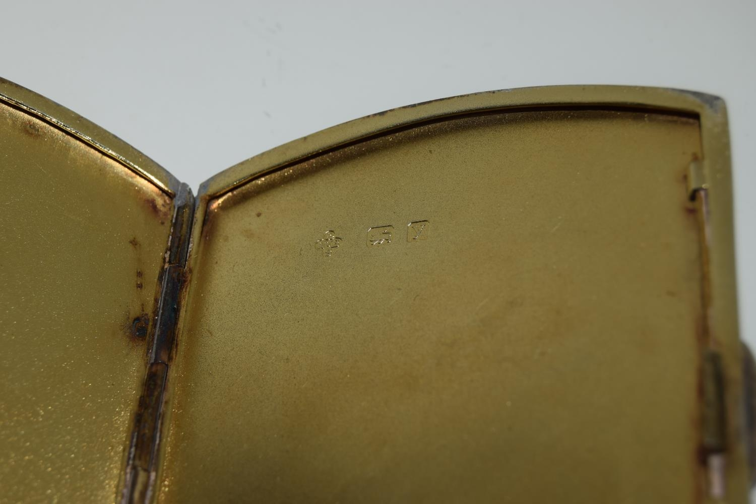 A silver case 1923 with semi nude enamel plaque. - Image 4 of 4