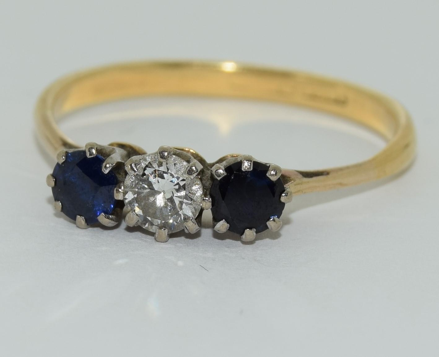 Art Deco Sapphire and Diamond 0.65ct approx, three stone trilogy ring, 2.5grams Size Q.