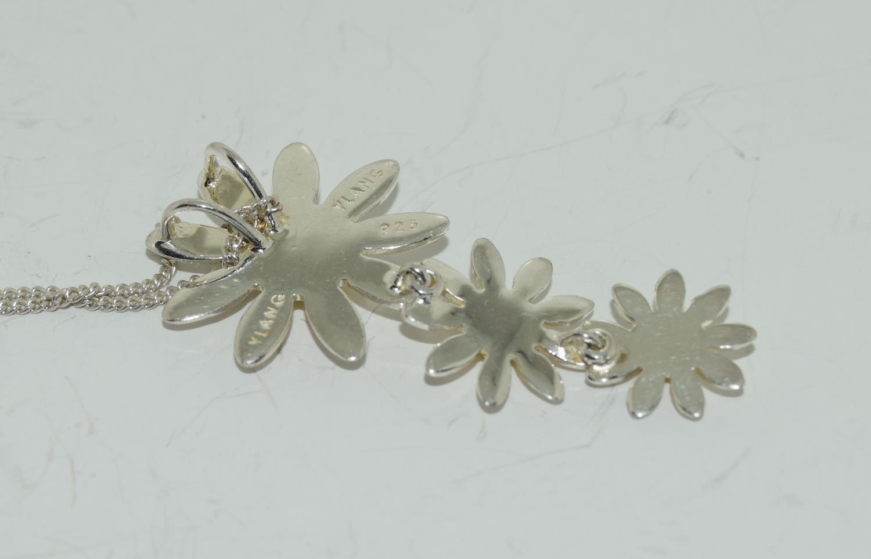 Designer Daisy gold on 925 silver pendant. - Image 3 of 3