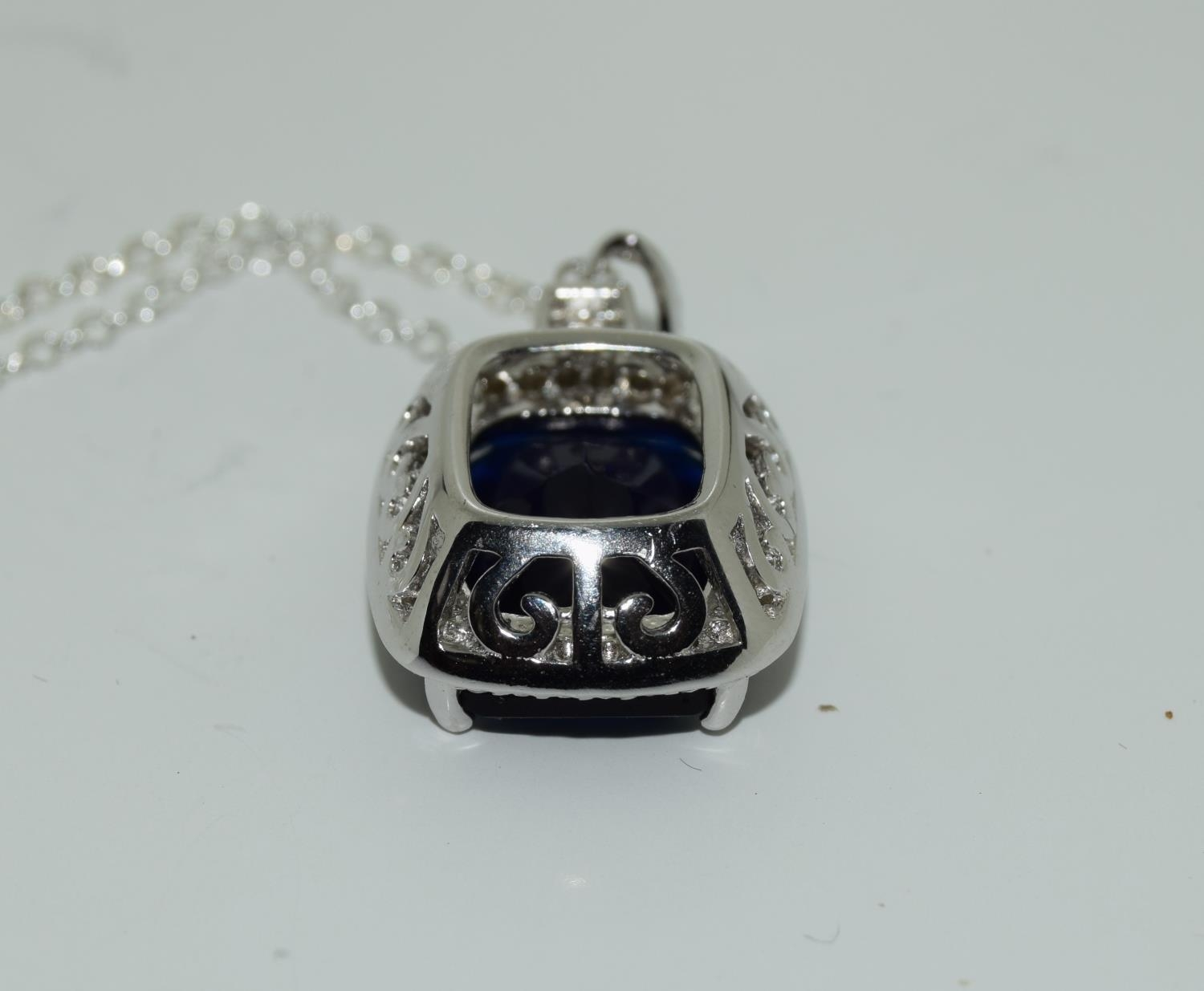 A silver CZ and Faux Sapphire pendant necklace (cased). - Image 3 of 3