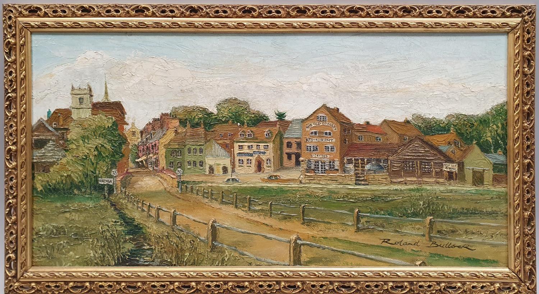 Gilt framed oil on board of local Wareham scene signed Roland Bullock 78x43cm.
