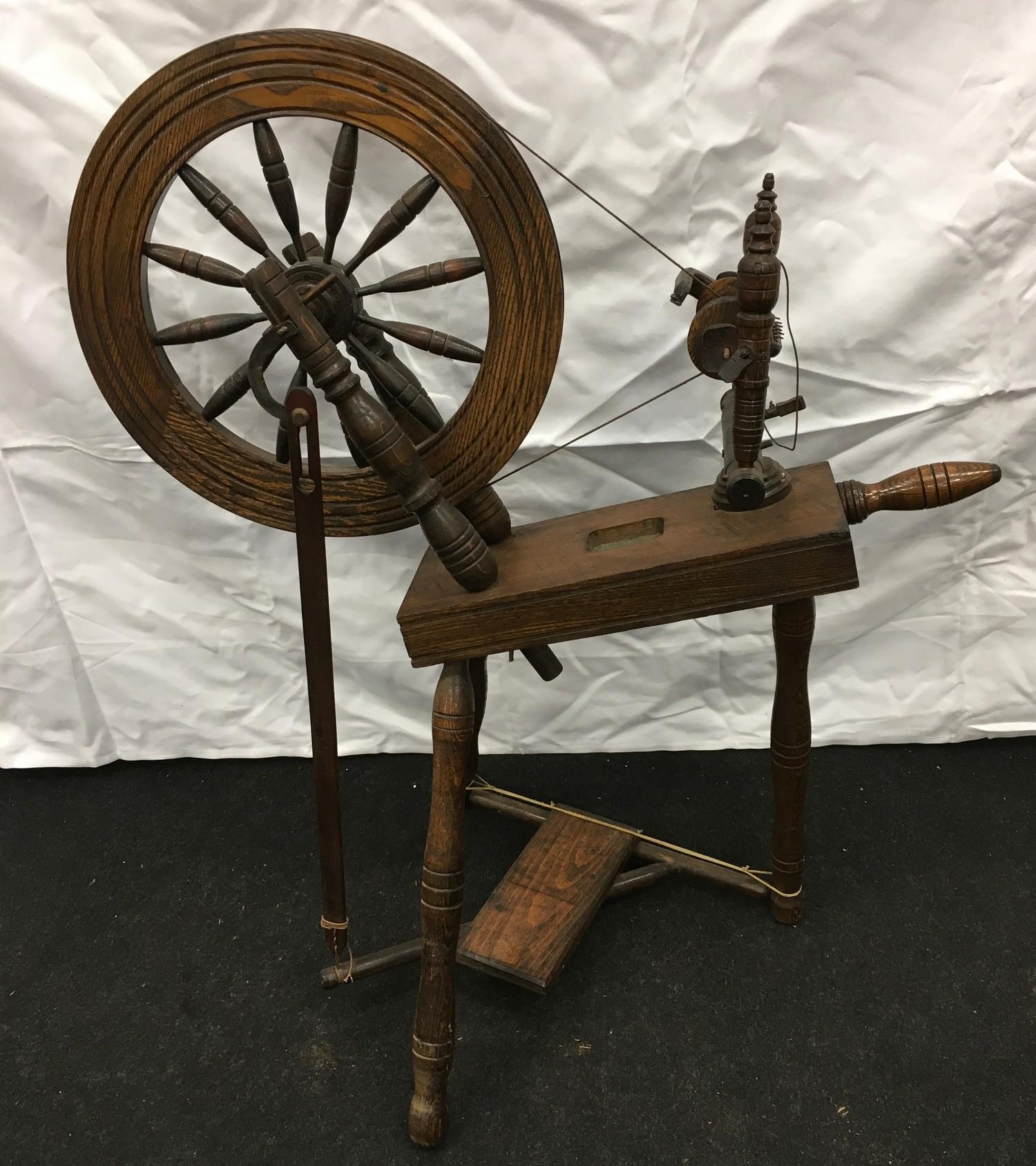 Wool spinning wheel working