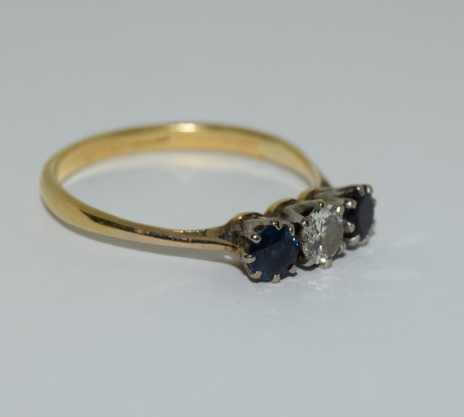 Art Deco Sapphire and Diamond 0.65ct approx, three stone trilogy ring, 2.5grams Size Q. - Image 5 of 6