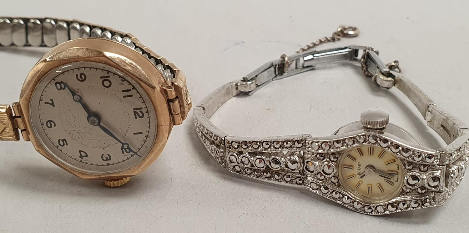 Pair of ladies watches to include 1 9ct gold. - Image 3 of 3