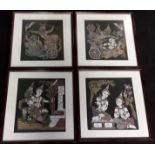A set of four oriental silk pictures framed & glazed, each 39x39cm.