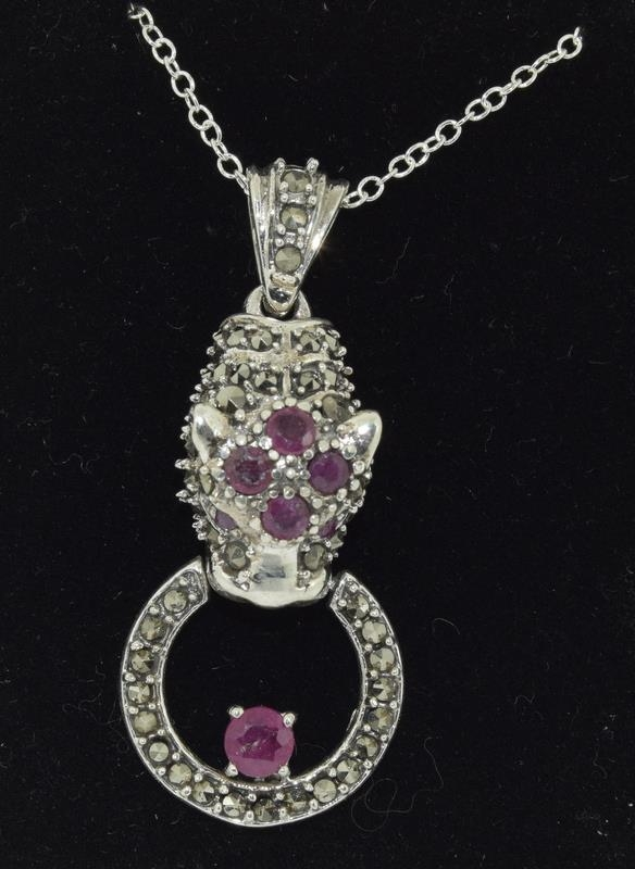 A silver and Ruby set Cartier style Leopard shaped pendant necklace. - Image 4 of 4