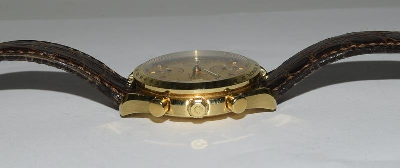 Omega Speedmaster 18 carat gold Gents Chronograph watch - automatic, boxed. - Image 3 of 8