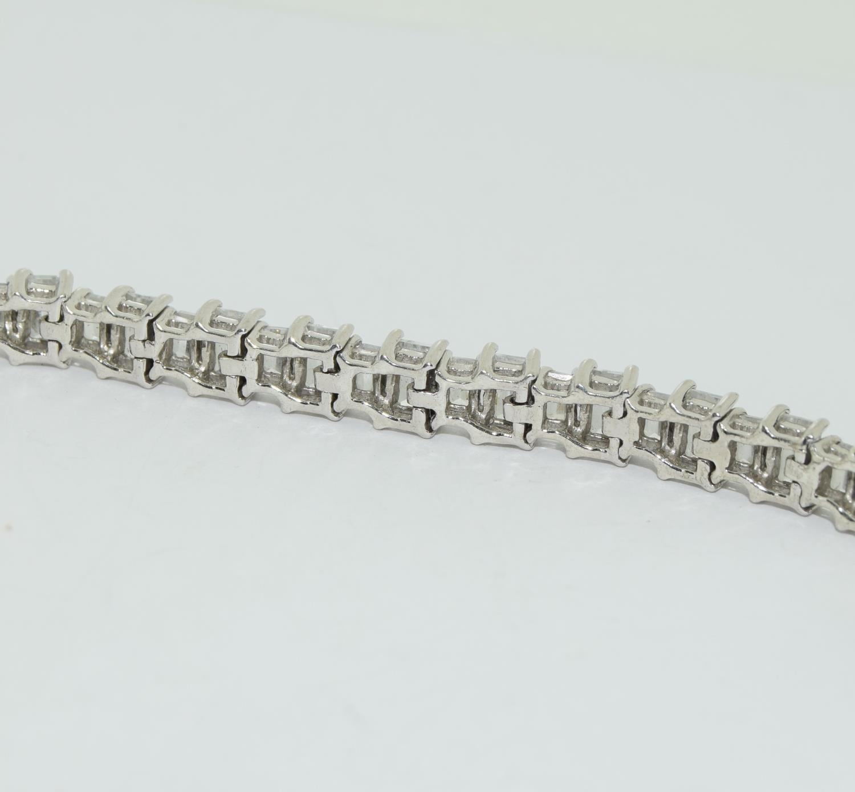 A superb baguette cut CZ 925 Silver line bracelet. - Image 3 of 3