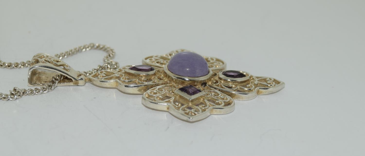 Large Lavender Jade and Amethyst 925 silver pendant. - Image 2 of 3