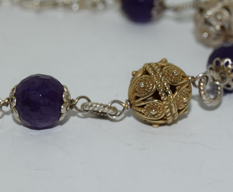 Amethyst ornate gold on silver ball bracelet. - Image 2 of 3